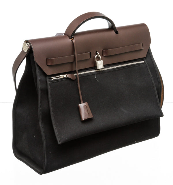 Hermes Black Canvas Vache Hunter Toile Herbag SHW