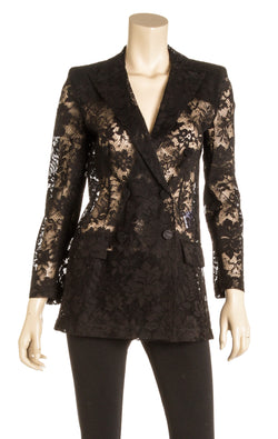 Givenchy Black Lace Sheer Blazer (Size 34)