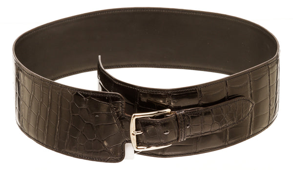 Hermes Black Crocodile Waist Belt Silver Hardware