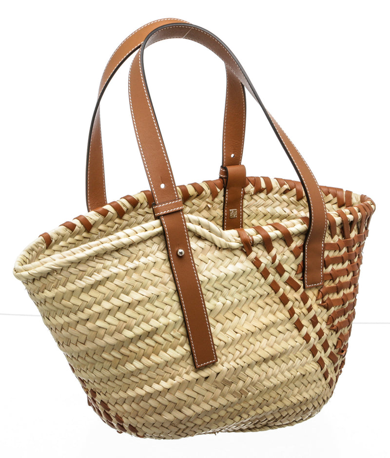 Loewe Tan Leather and Palm Leaf Straw Medium Basket Tote Bag NWT