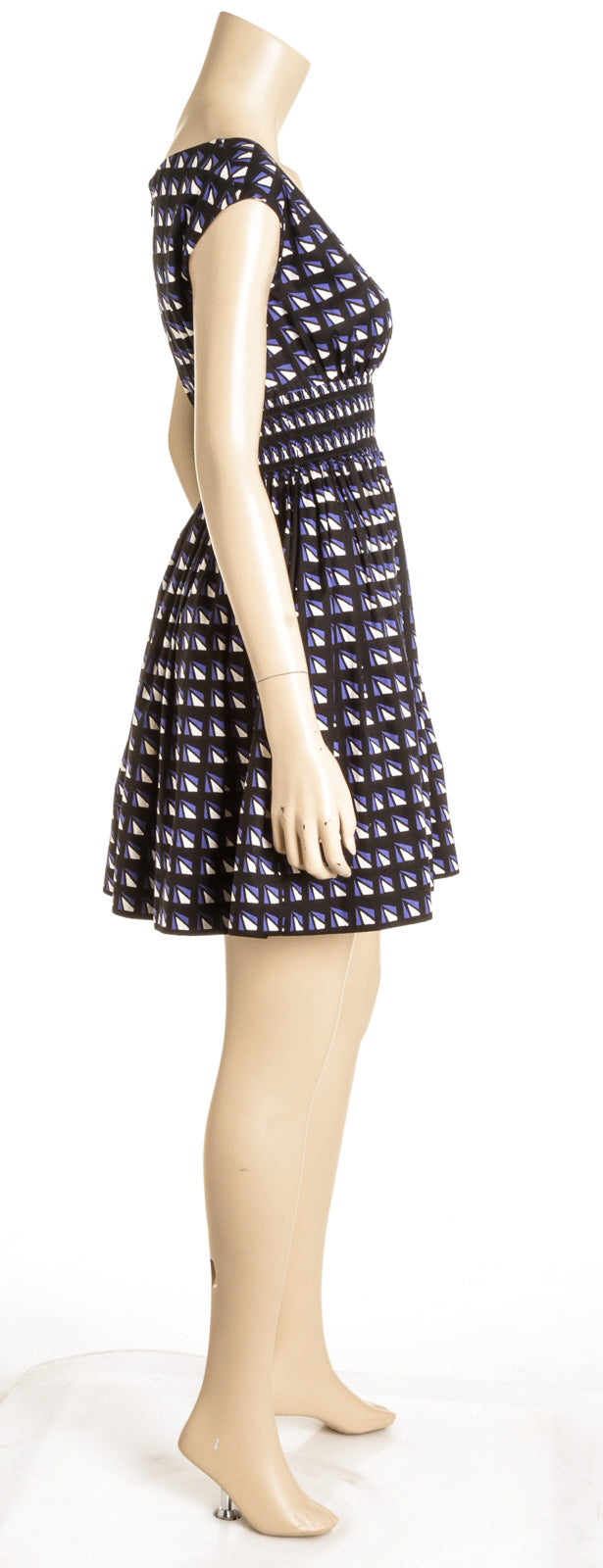 Prada Black and Blue Geometric Print Dress (Size 40)