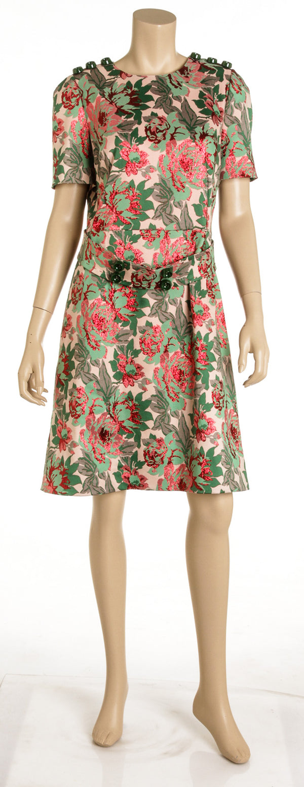 Dolce and Gabbana Floral Belted Jacquard Dress ( Size 48)
