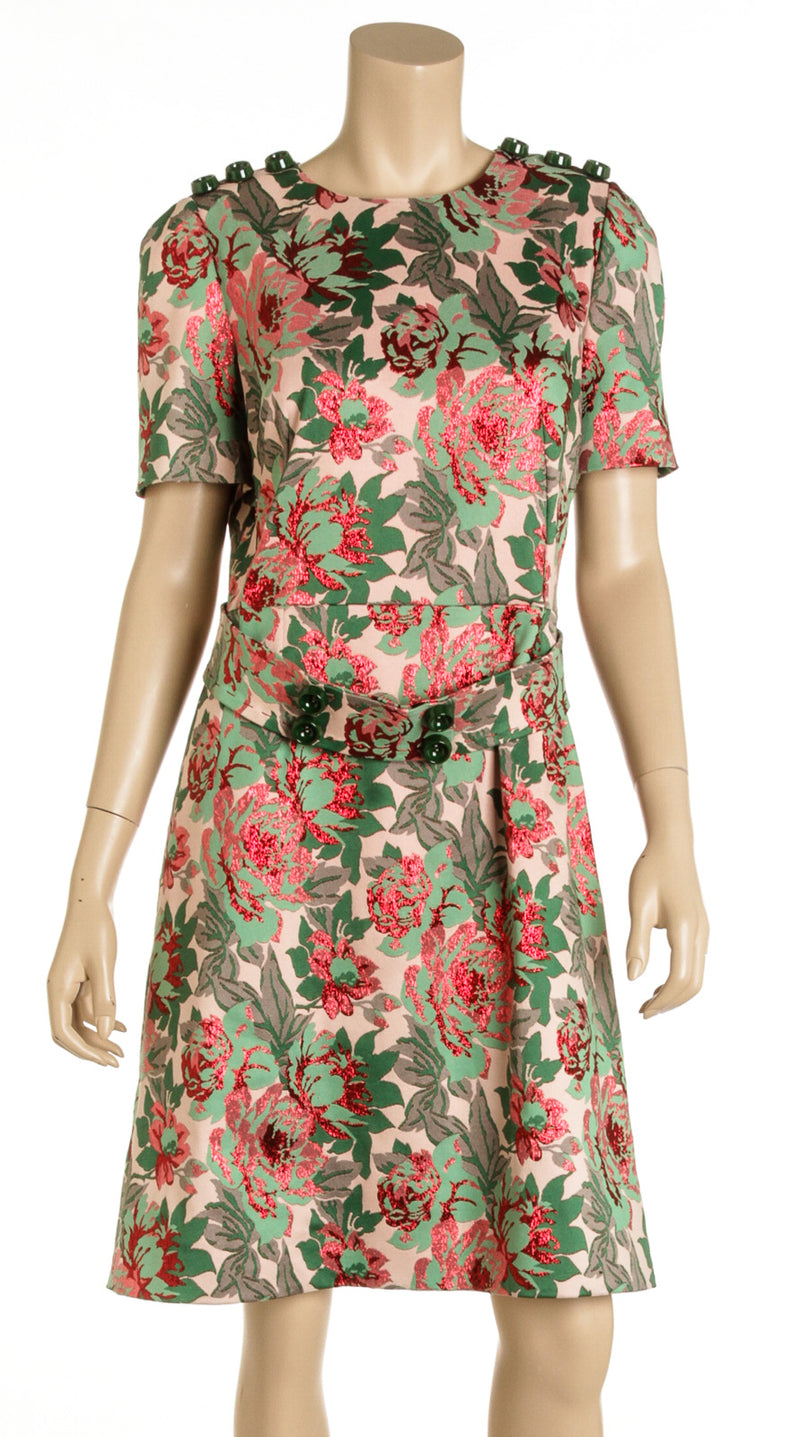 Dolce and Gabbana Green And Pink Floral Belted Jacquard Dress (Size 48)