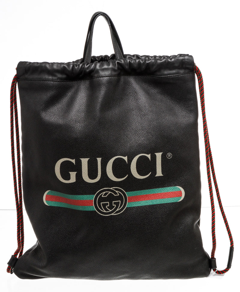 Gucci Print Black Leather Drawstring Backpack