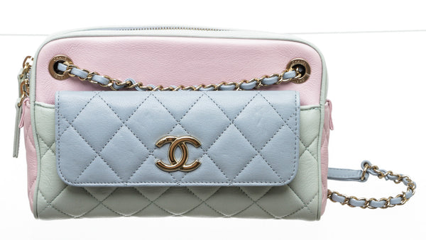 Chanel Blue Tricolor Leather Quilted Camera Bag GHW
