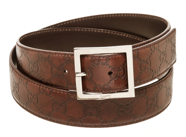 Mens Gucci Guccisma Brown Leather Belt 110