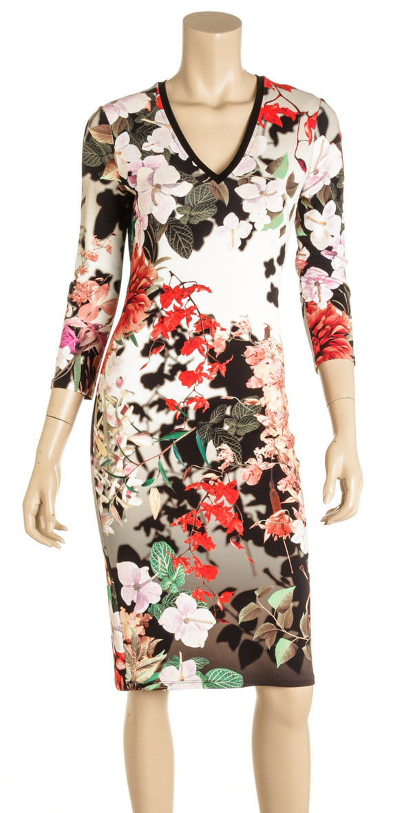 Roberto Cavalli Multicolor Knit Floral Dress (Size 42)