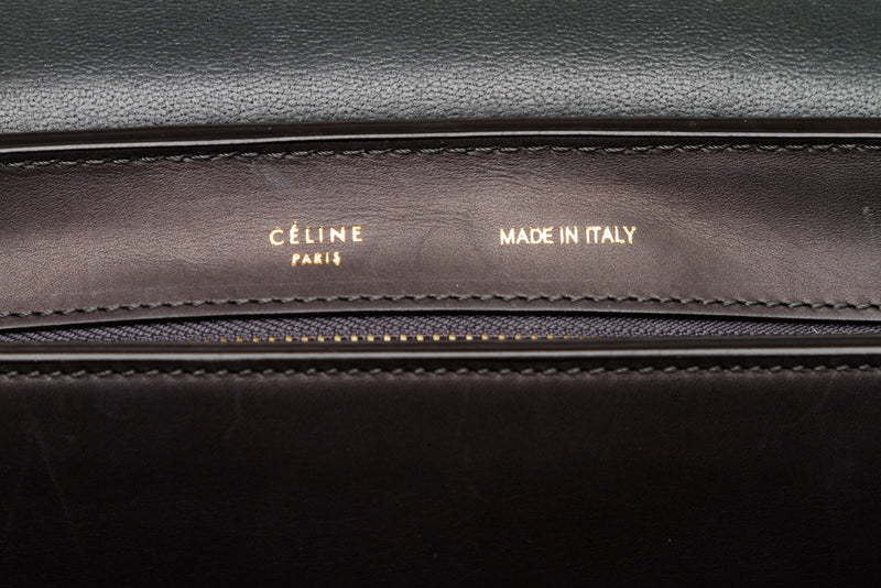 Celine Gray Leather and Suede Trapeze Bag