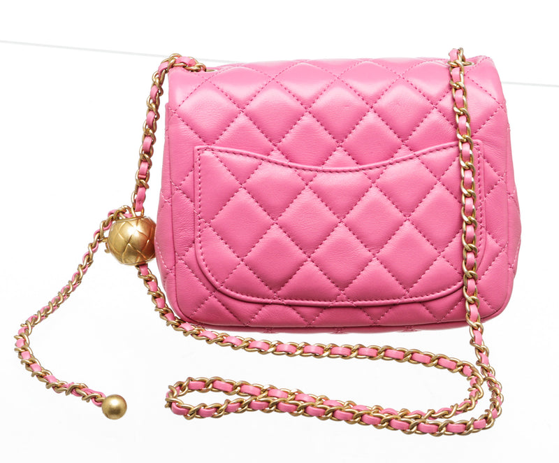 Chanel Pink Lambskin Leather Pearl Crush Square Mini Flap Bag GHW