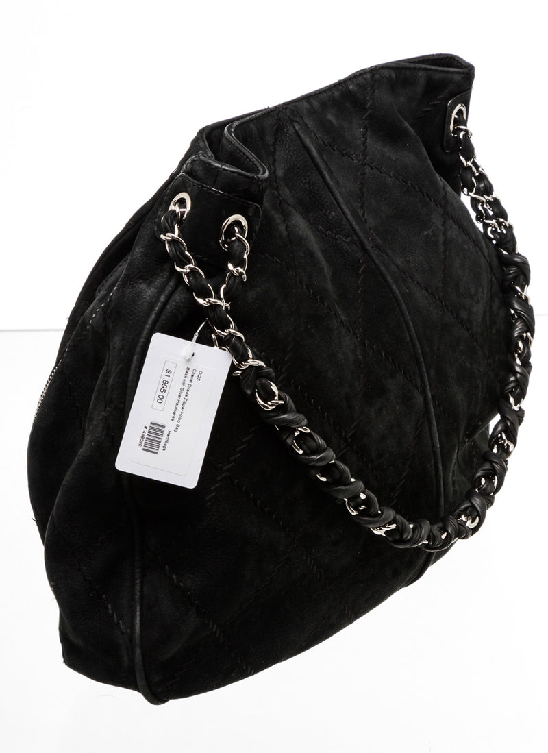 Chanel Black Suede Darjeeling Hobo