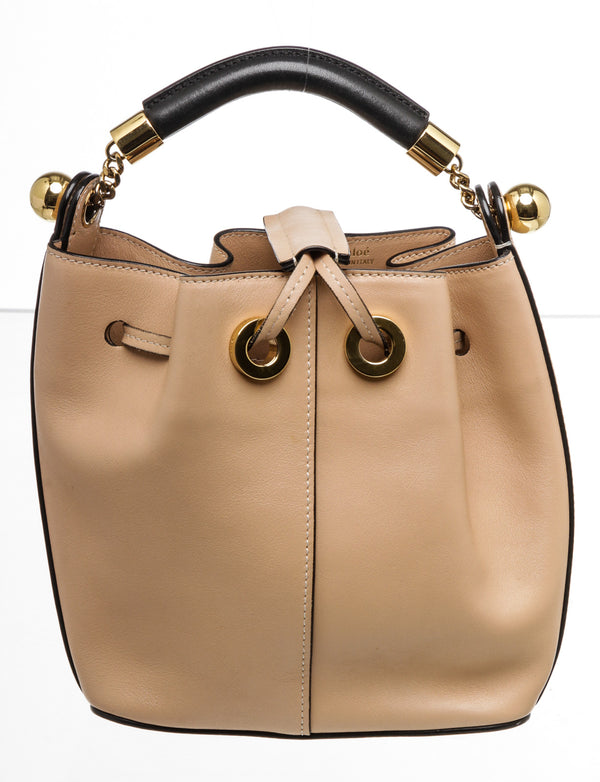 Chloe Nude Leather Gala Bucket Bag