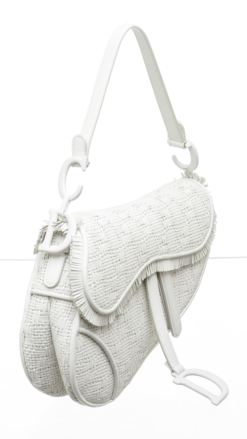 Christian Dior White Macrame Woven Saddle Bag