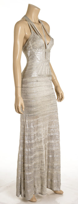 Herve Leger Silver Metallic Coated Maxi Dress ( Size XS)