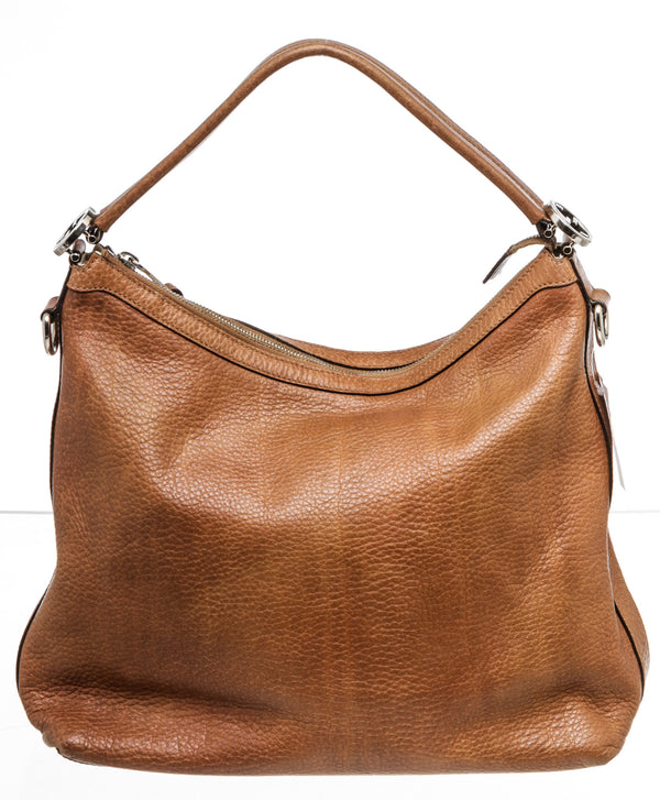 Gucci Brown Pebbled Leather Hobo