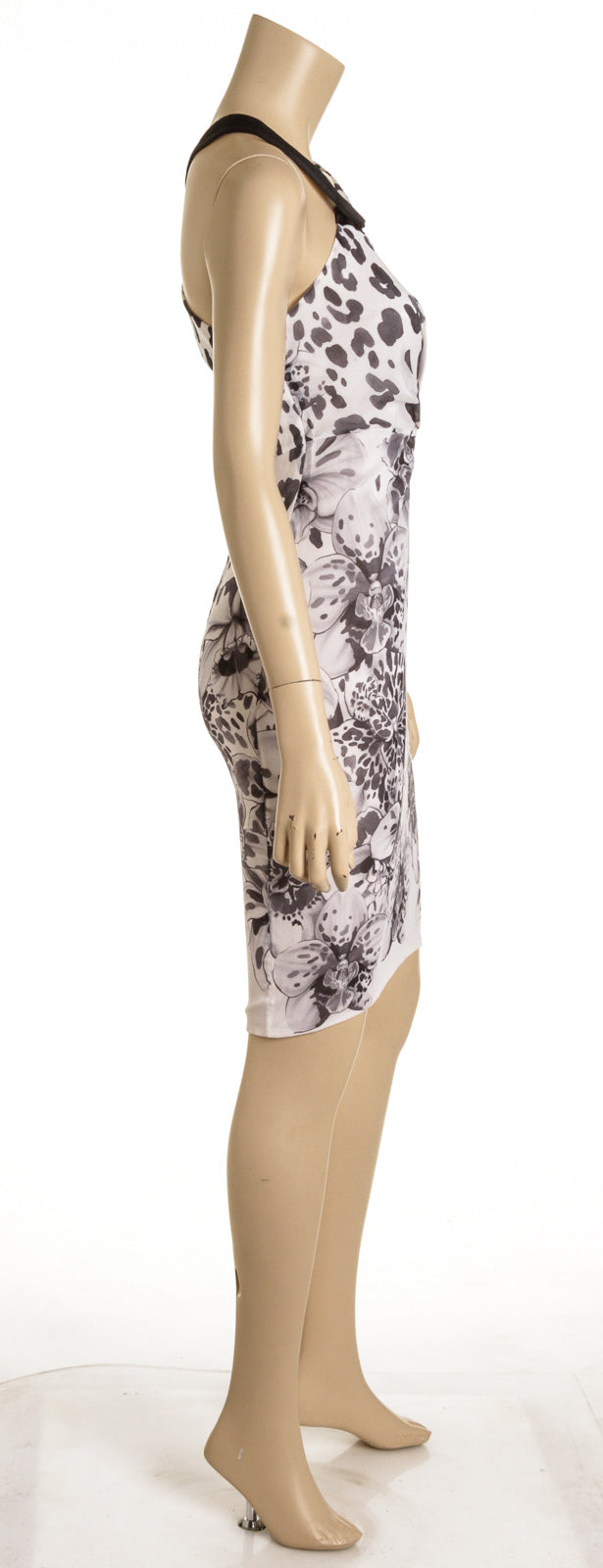 Versace Black and White Floral Cheetah Print Silk Dress (Size 40)