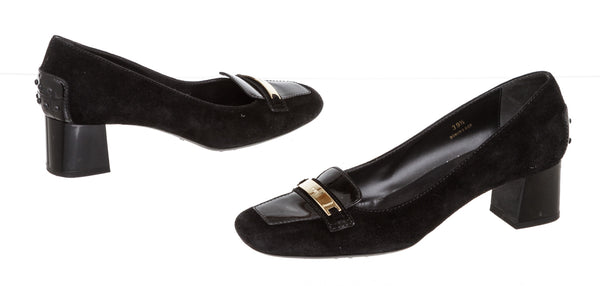 Tods Black Suede Low Heel Loafers Gold Hardware ( Size 39.5)