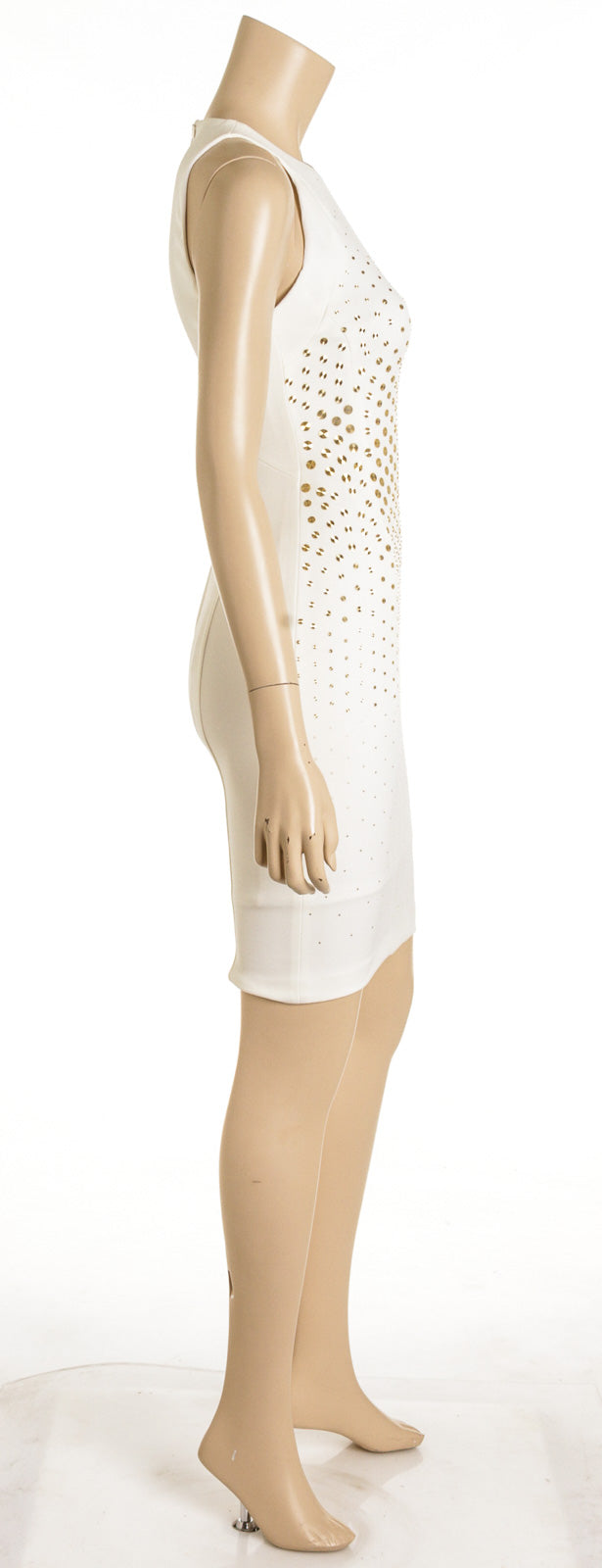 Versace Collection White With Gold Studs Fitted Cocktail Dress (Size 38)
