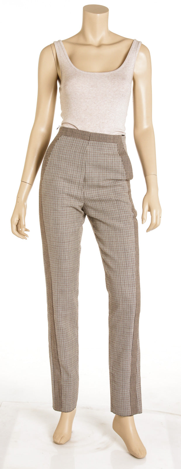 Roberto Cavalli Gray Brown Houndstooth Print Wool Trousers (Size 38) NEW