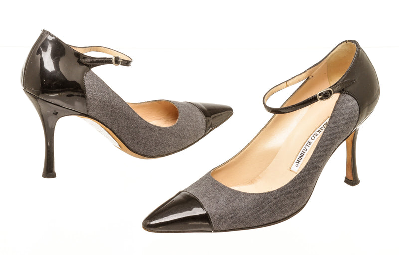Manolo Blahnik Gray Fabric And Black Leather Pointed Heels Size 38.5