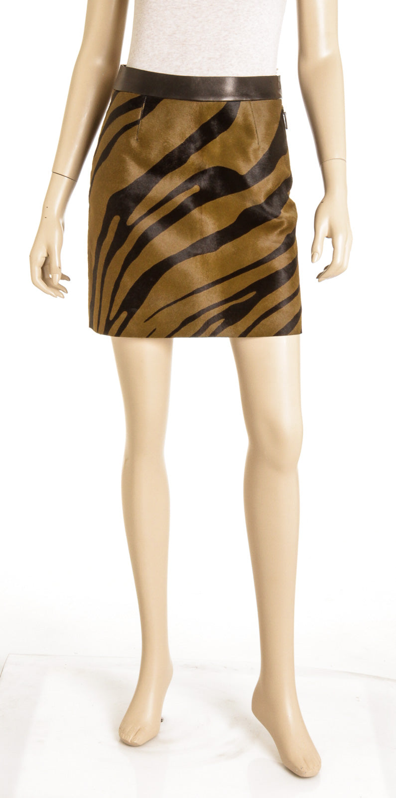 Roberto Cavalli Green And Black Calf Hair And Leather Zebra Print A-Line Skirt NEW Size 38