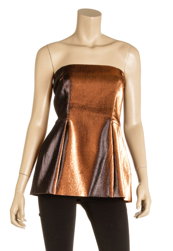 Roberto Cavalli Gold Sienna Strapless Lurex Top (Size 42) NEW