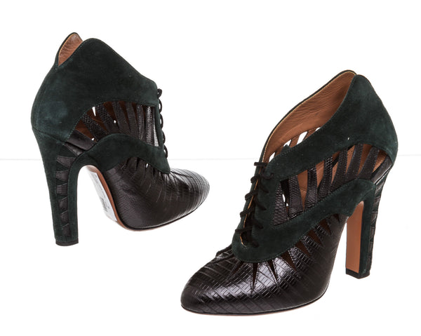 Alaia Green & Black Suede Booties ( Size 38 )
