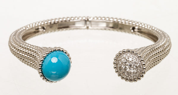 VCA Perlee Couluers White Gold Turquoise Diamond Bracelet