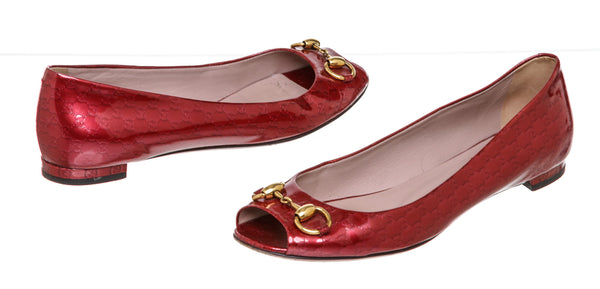 Gucci Red Patent Microguccissima Leather Flats ( Size 39.5 )