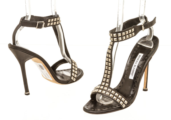 Manolo Blahnik Black Leather Studded Heel Sandals Size 39.5