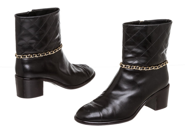 Chanel Black Calfskin Short Gold Chain Boots ( Size 10.5 )