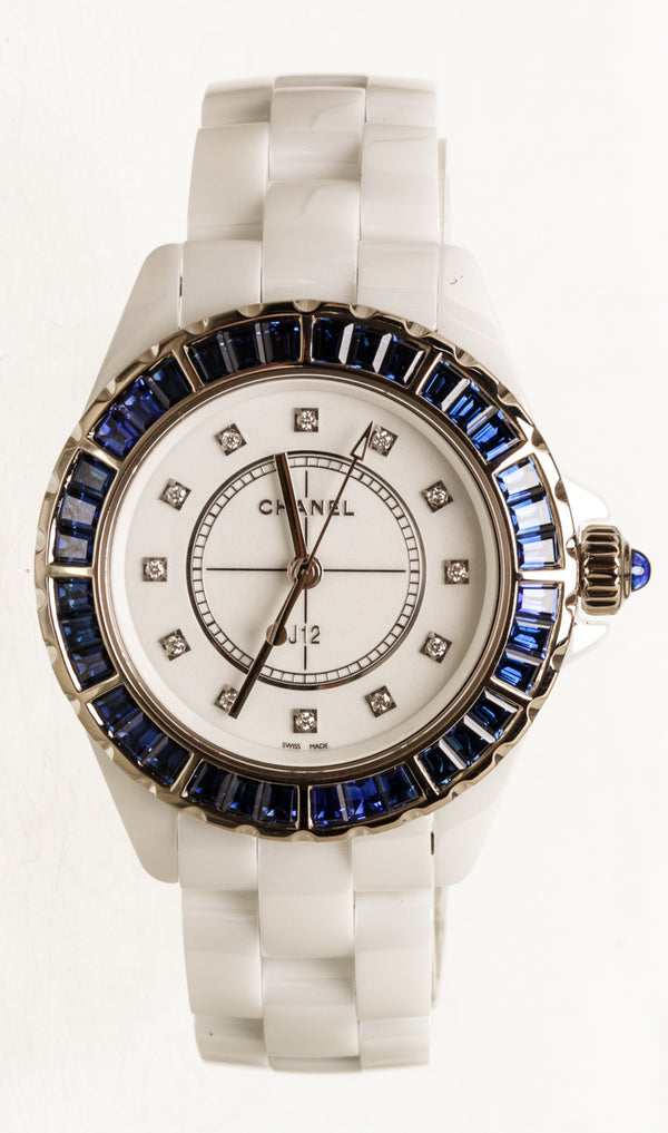 Chanel J12 33mm White Ceramic Blue Sapphire Bezel Watch
