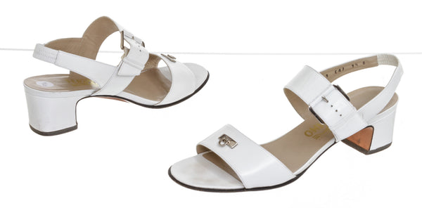 Ferragamo White Leather Logo Block Heel Sandals ( Size 9.5 )