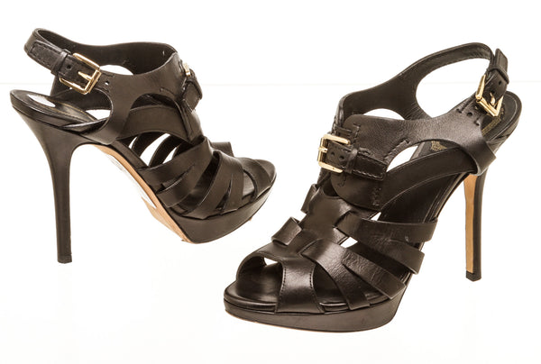 Christian Dior Black Leather Cut Out Peep Toe Sandals Size 37.5
