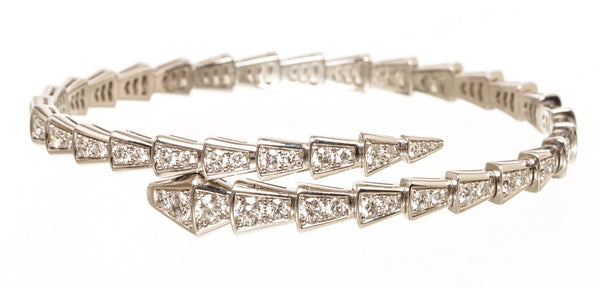 Bvlgari Serpenti 18k Large White Gold Diamond Bracelet