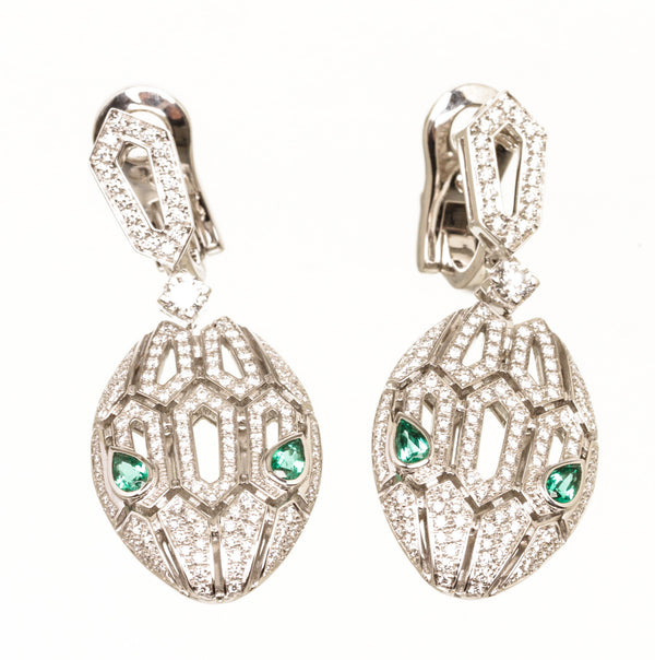 Bvlgari Serpenti 18k White Gold Emerald Earings