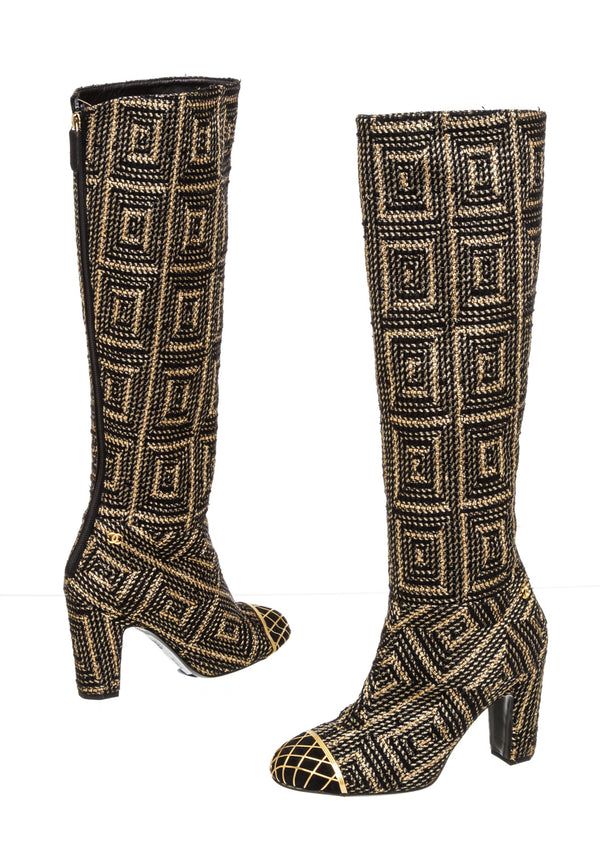 Chanel Byzantine Collection Black & Gold Woven Tall Cap Toe Boots ( Size 37 )