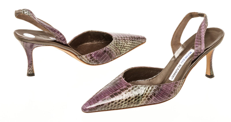 Manolo Blahnik Purple Gray Snake Embossed Sling back Heels Size 37.5