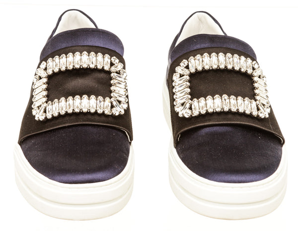 Roger Vivier Navy Blue Black Satin Sneaky Viv Strass Buckle Sneakers Size 37