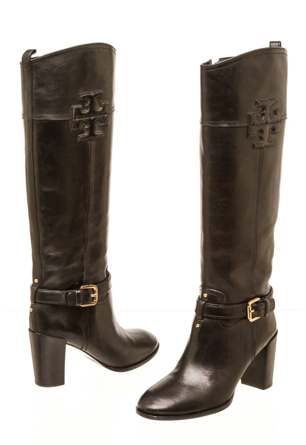 Tory Burch Black Leather Blaire Mid-Heel Riding Boots Size 7.5