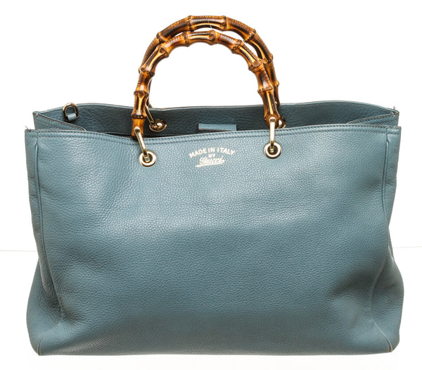 Gucci Bamboo Handled Blue Leather Tote Bag