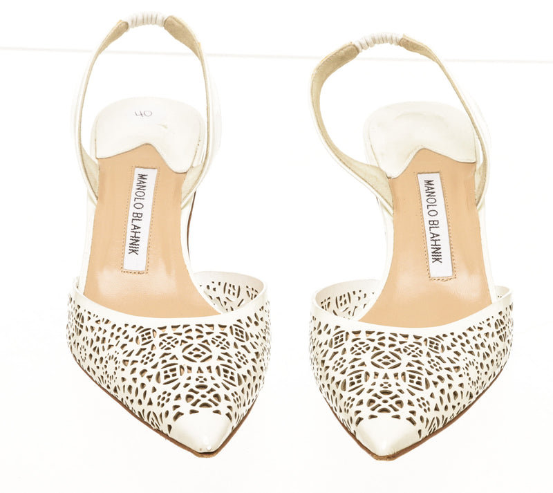 Manolo Blahnik White Patent Leather Lazer Cut Sling Back Pumps Size 40