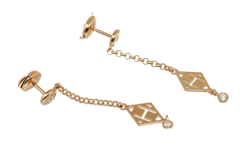 Hermes Rose Gold With Diamond Gambade H Earrings