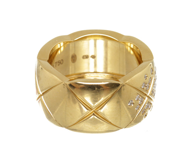 Chanel 18K Yellow Gold Diamond Coco Crush Ring Size 7