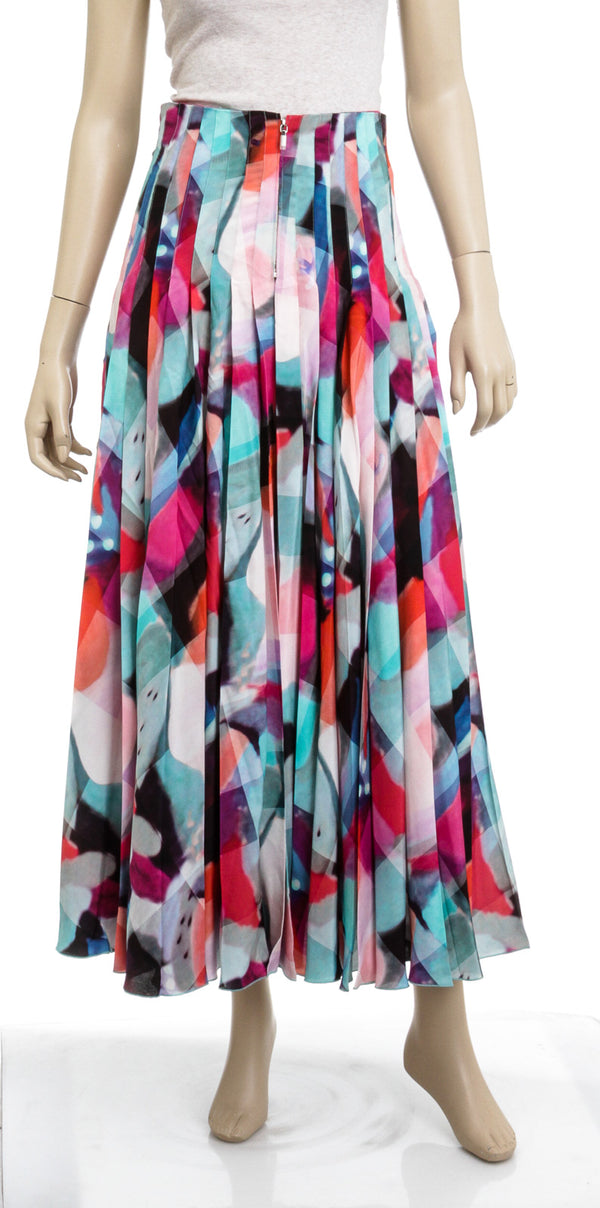 Chanel Multi-Colored Silk Pleated Maxi Skirt New Size 36