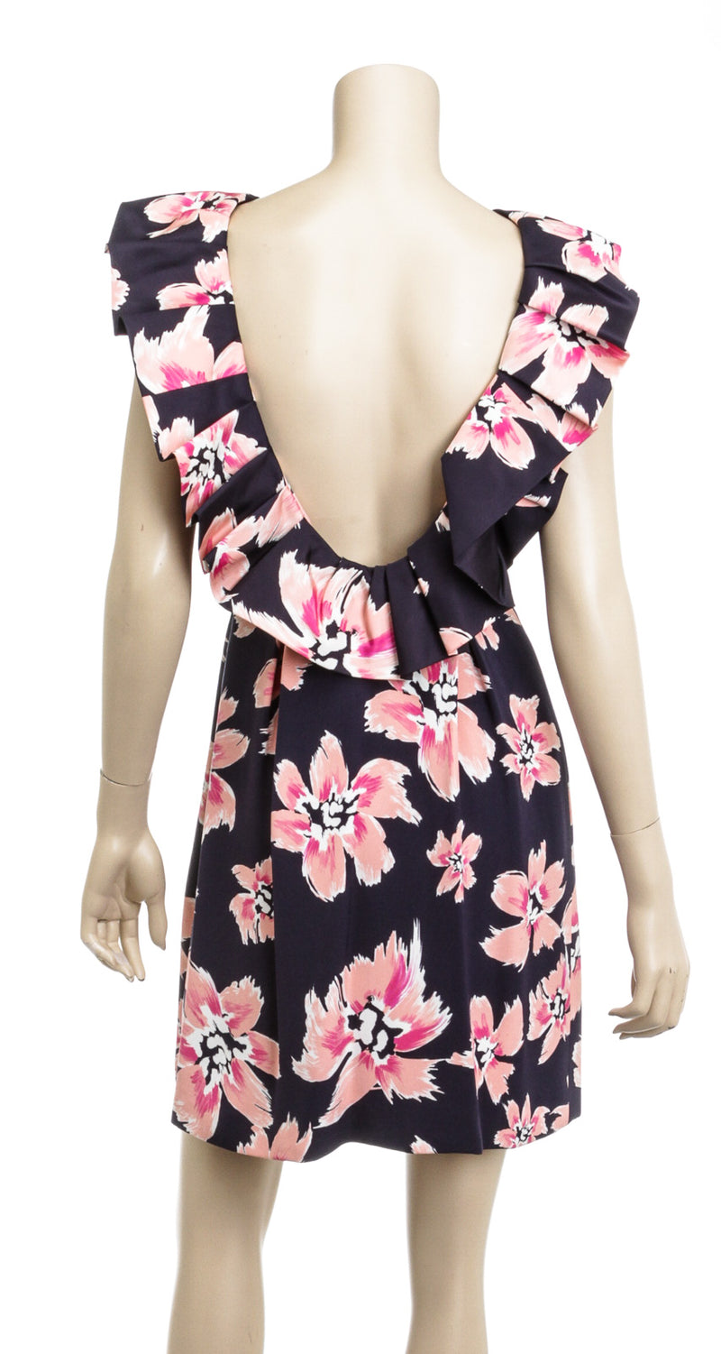 Christian Dior Blue Pink Silk Floral Cocktail Dress Size 38