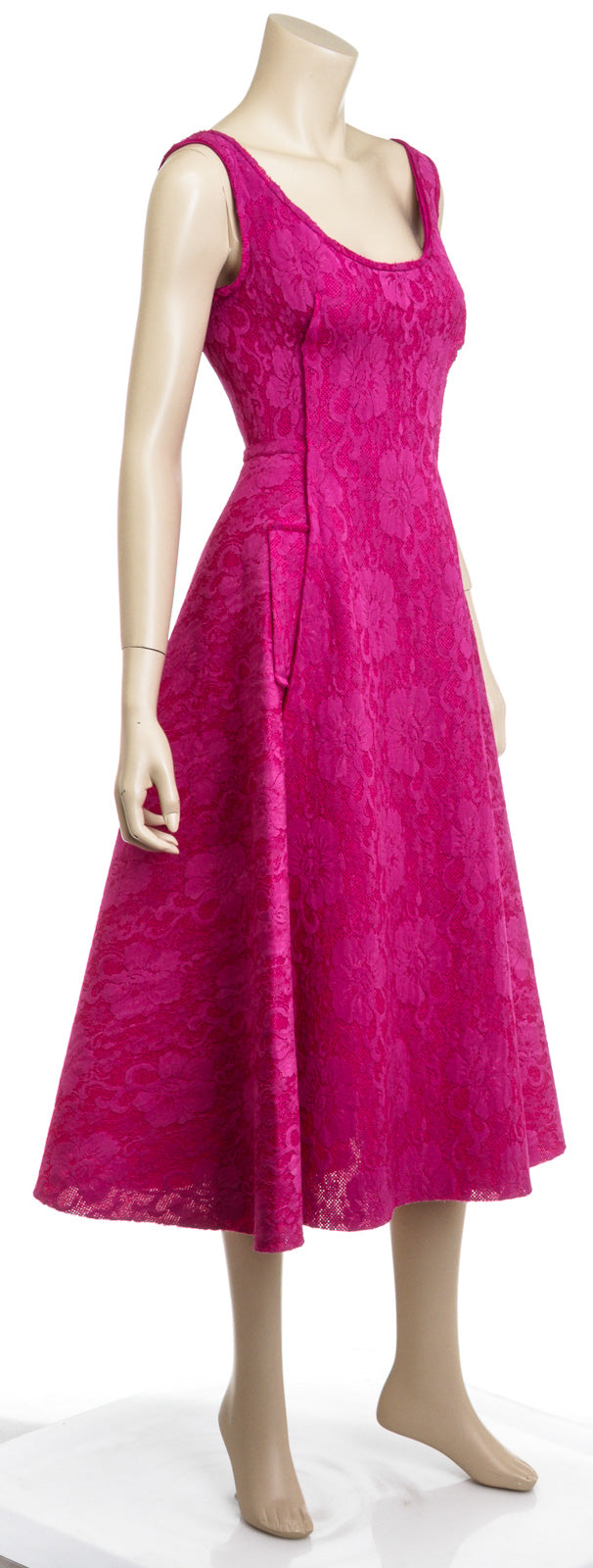 Lanvin Fuschia Pink Lace Flare Ballet Dress Size 36