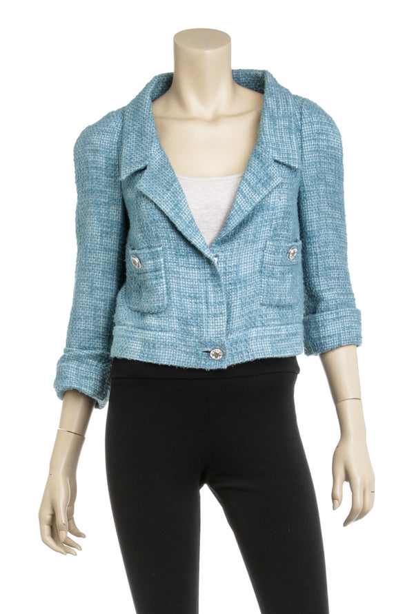 Chanel Blue Tweed Crystal 38 Cruise Blazer Jacket Size 40
