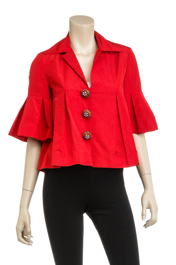 Christian Dior Red Silk Mix Jewel Button Pleaded Jacket Size 38