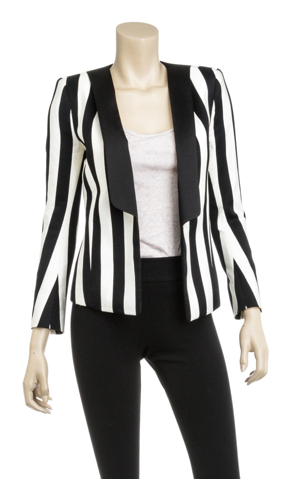 Balmain Black And White Striped Satin And Cotton Blazer Size 36