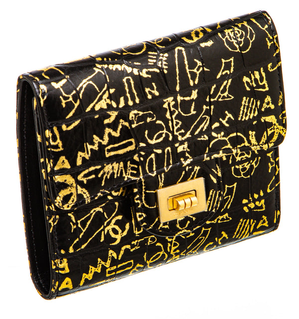 Chanel Graffiti Crocodile Embossed Reissue Wallet